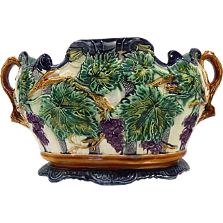 Large French Antique Majolica Jardiniere or Wine Cooler with Grapes and Leaves Decoration