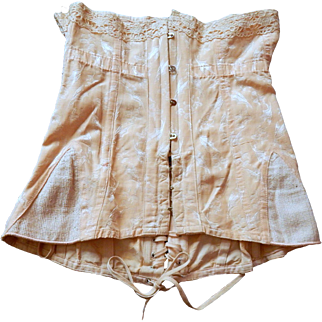 Fabulous Vintage French Corset in Damask Fabric