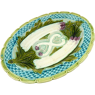French Asparagus Server by Orchies in Barbotine / Majolica Vintage