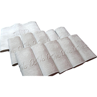 Monogrammed Tablecloth with 10 Matching Damask Napkins in Linen Damask