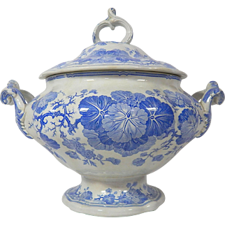 Fine French  Soup Tureen in Blue Floral Transferware