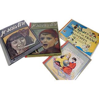 4 Vintage Books in French for Children from 1920s