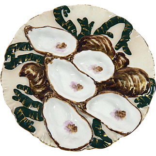 French Antique Haviland Limoges 'Turkey' Oyster Plate