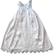 French Vintage Christening Gown Handmade with Exceptionally Fine Embroidery