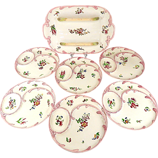 French Asparagus Service with 6 Plates and Server from Sarreguemines 'Strasbourg' pattern c.1920
