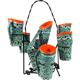 French Vallauris 'Lava' Drinks Set 1950s