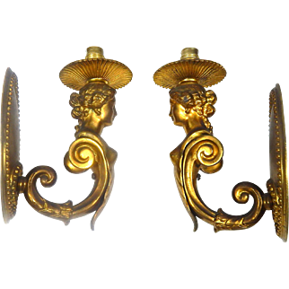 Pair of French Vintage Sconces in Empire Revival Style from c.1930/40s