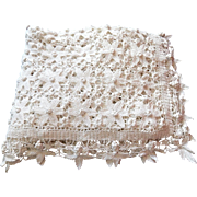 Large Hand Made French Vintage Coverlet in Beautiful Lacy Crocheted Pattern