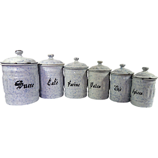 6 French Vintage Embossed Enamelware Canisters