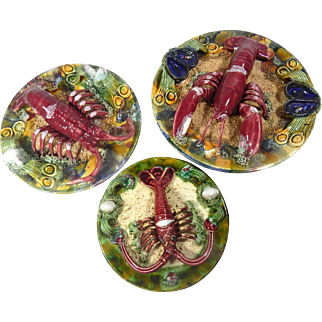 Group of  3 Palissy Portugese Vintage Lobster Plates in Majolica