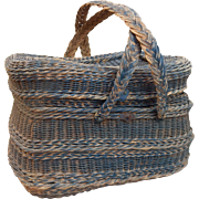 Large Handwoven Vintage French Picnic Basket