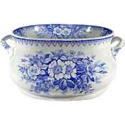 French Antique Transferware Large  Jardiniere or Wine Cooler with Blue and White Decoration c. 1900