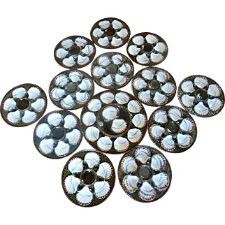 Vintage French Longchamp Oyster Platter with 12 matching plates in White and Deep Blue Green