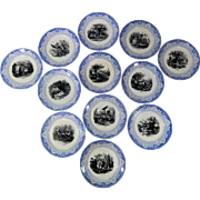 12 Matched Antique French Dessert Plates  Months of the Year Theme c.1875-1900
