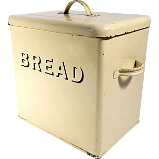 Enamelled  English Bread Box with Lid c. 1940 to 1950
