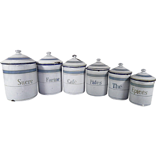 6  French Vintage Enamelware Canisters in White and Blue Complete with Lids