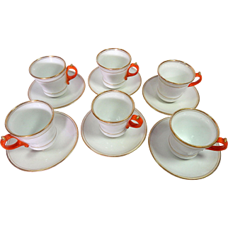 6 French Antique Bistro Coffee Cups Elegant and Authentic 'BRULOTS'