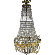 French Vintage  Crystal and Bronze Chandelier c.1920/30