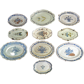 10  French Antique Stoneware 'Cul Noir' Platters dating from the late 1700s to early 1800s~