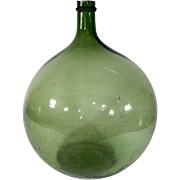 French Vintage Hand-blown Demi-john with lots of Bubbles in Jade Green