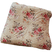 Large Traditional French Boutis in Floral Prints in Cotton 'Barkcloth' Vintage French Quilt