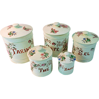 Group of 5 Antique French Faience Canisters 'Belle Epoque' Rare Set with Lids