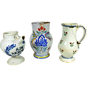 French Faience Pitchers or Jugs  1700s to early 1800s Damaged but Charming