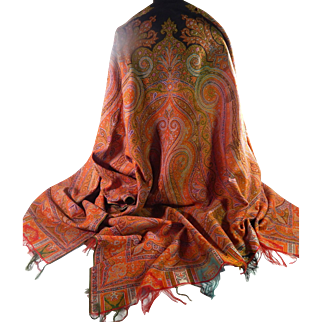 Paisley Kashmir Shawl in wool Turn-of-the-Century