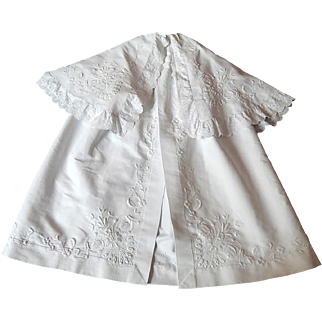 French Hand Made and Hand Embroidered Heirloom Christening Cape for a Baby Boy or Girl