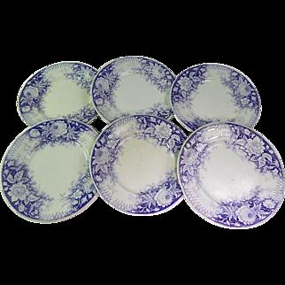 French transferware Dessert Plates Set of 6