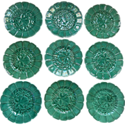 9 Antique Majolica French Plates Vine Leaves Decoration
