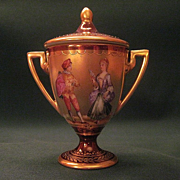 Antique Dresden Porcelain Loving Cup Hand Decorated By Donath and Co.
