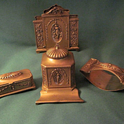 Antique Jennings Brothers Edwardian Inkwell, Blotter, Letter Holder, and Stamp Box Desk Set