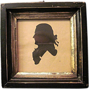 Antique Framed Hollow Cut Silhouette Or Shadow Portrait Of A Gentlemen
