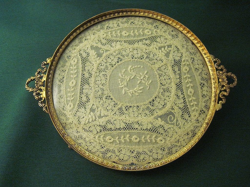 Antique vanity tray with lace insert - Vintage Round Gilt Brass And Glass Tray With Original Lace Insert By George L Vose Co