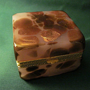 Vintage Art Deco Opalescent And Adventurine Glass Box With Gilt Brass Mounts.