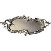 """Antique Austrian """"800"""" Silver Tray In The Rococo Style"""