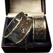 Antique Pair of English Sterling Engraved Edwardian Napkins Rings In A Fitted Case
