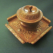 Antique Austrian Bronze Regency Style Inkwell With Original Milk Glass Ink Reservoir