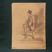 Two Antique Engraved Caricatures By James Gilray-Elegance Democratique And Metallic Tractors