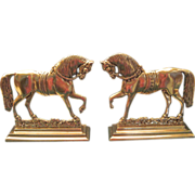 Vintage Pair Cast Brass Horses Fireplace Mantel Decorations