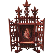 Vintage Victorian Carved Devotional WIth Hand Painted Porcelain OF Madonna And Child