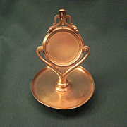 Vintage Brass Pocket Watch Holder With Attached Tray For Watch Chain And Fob