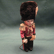 Vintage Celluloid Doll Dressed In The Uniform Of The English Household Guard With Bearskin Hat And Sword