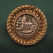 Vintage 19th Century Architectural Mixed Metal Picture Button With Sanders Type Shank