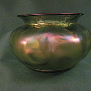 Antique Loetz Glass Melon Shaped Bowl In Shades Of Iridescent Green, Blue, Purple and Violet