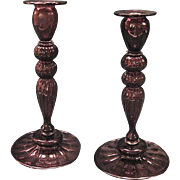 Vintage Pair Of Steuben Amethyst Candlesticks Style 2956 Designed By Fredrick Carder