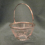 Vintage Hawkes Glass Miniature Basket With Satin Engraved Decoration And SiIver Mounts
