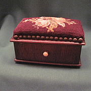 Antique Pin Cushion Box With One Draw And Needle Point And Petit-Point Top Cushion