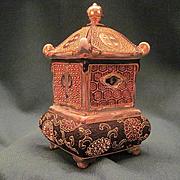 Vintage Japanese Kutani Porcelain Incense Burner With Moriage Decoration